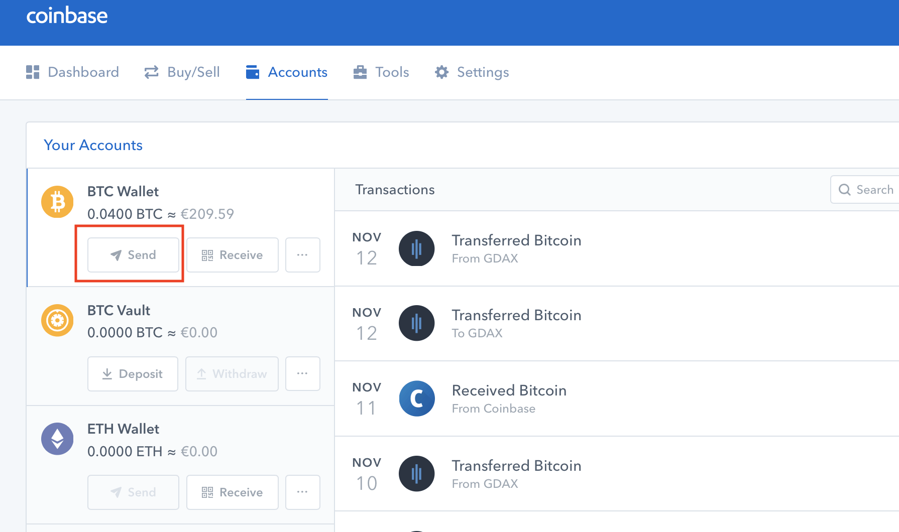 coinbase transfer to hardware wallet
