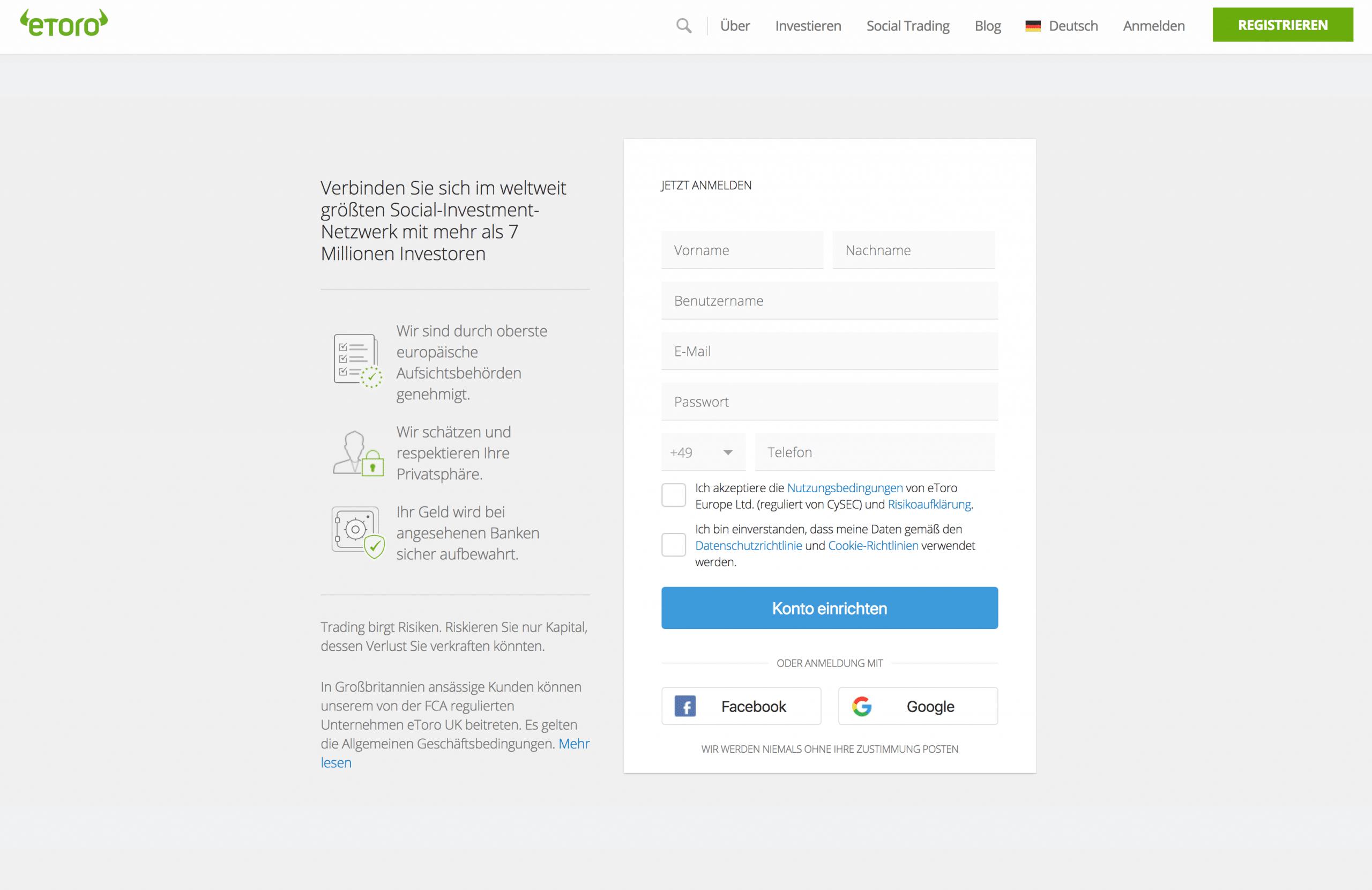 eToro Erfahrungen - Registrierungsprozess