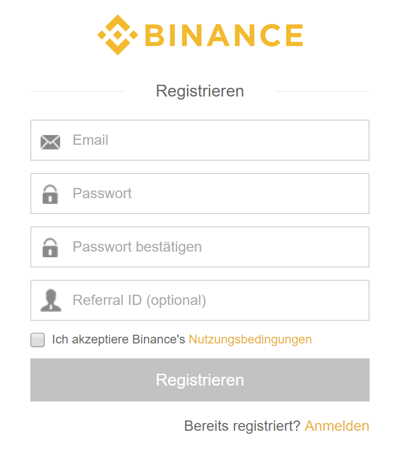 Registrierung bei Binance
