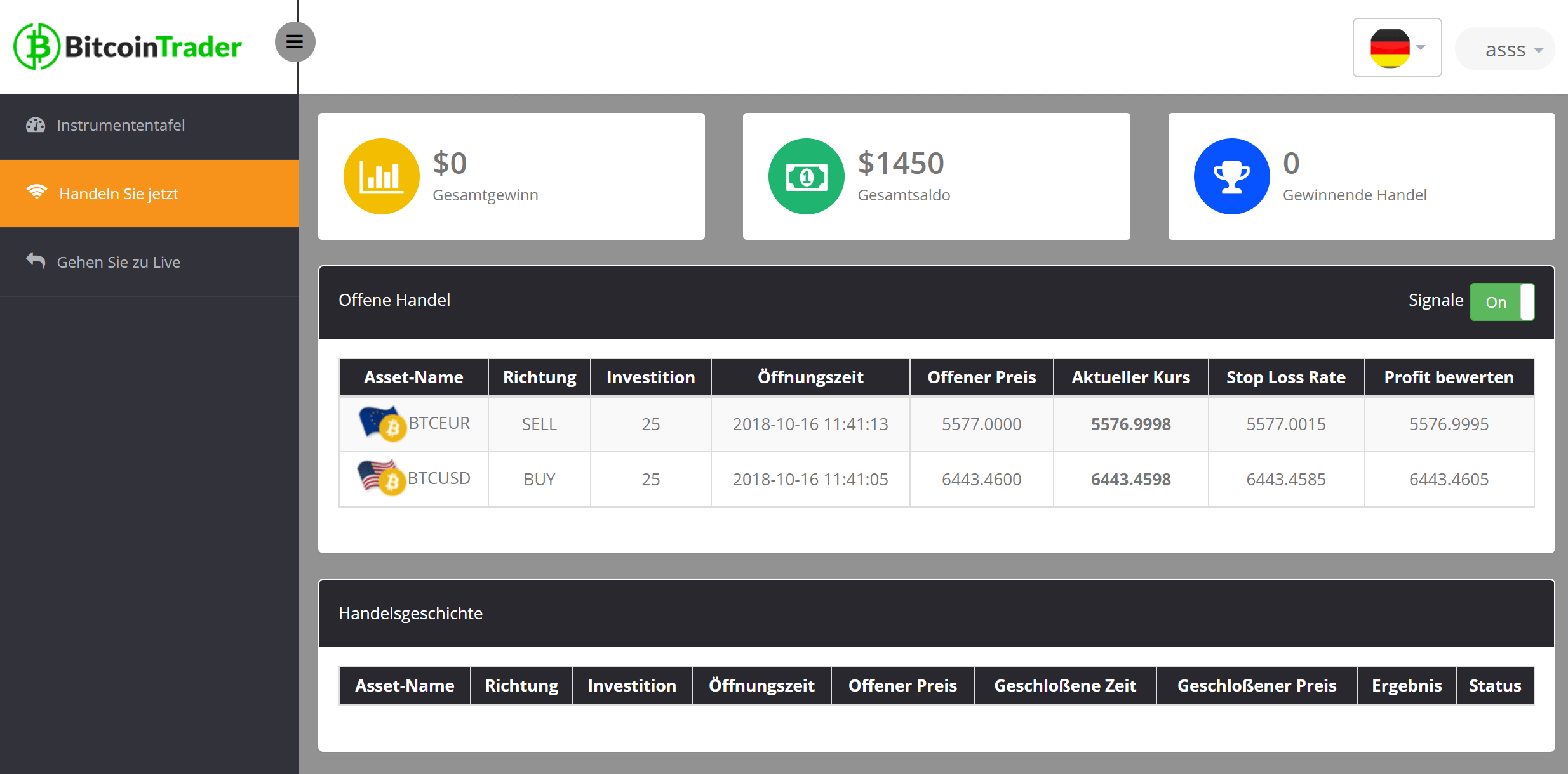 Bitcoin Trader Konto