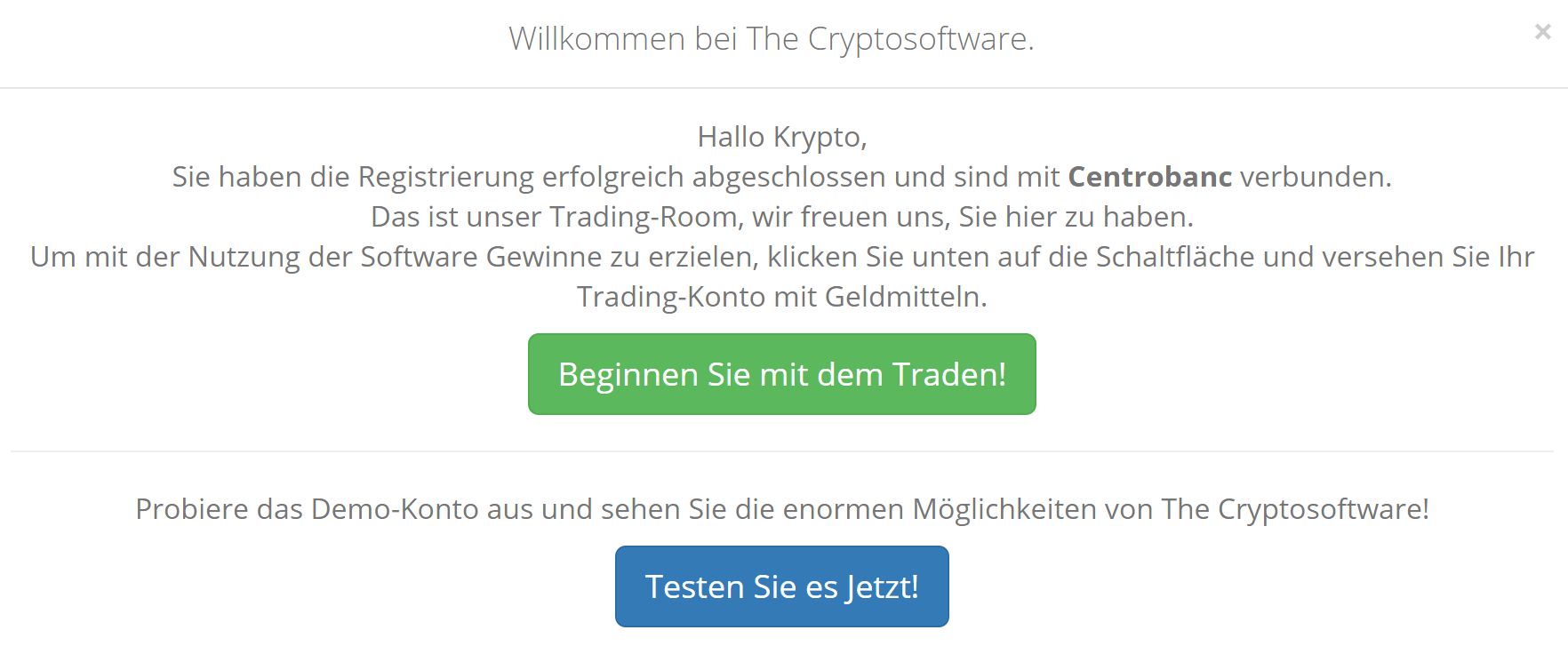 Cryptosoft Demokonto