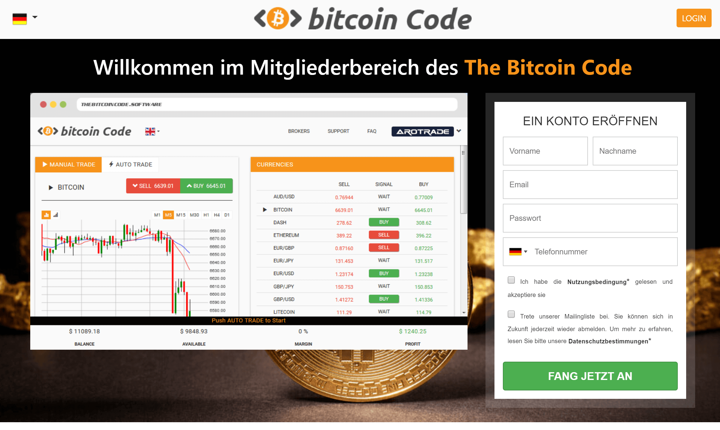 Bitcoin Code Login Deutsch