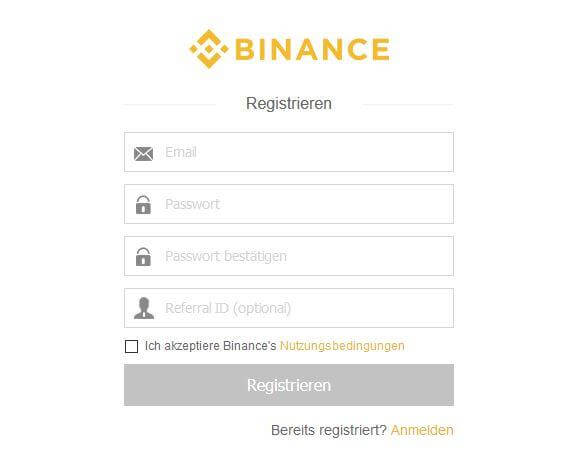 Binance Registrierung