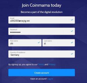 Coinmama Schritt 1