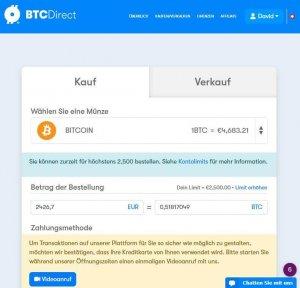 BTCDirect Kryptowährungen Kaufen