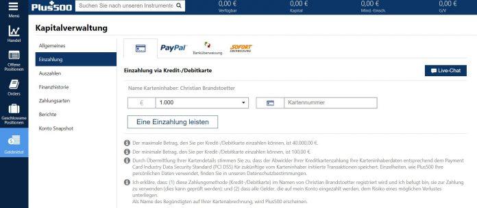 plus500 Einzahlung mit Paypal