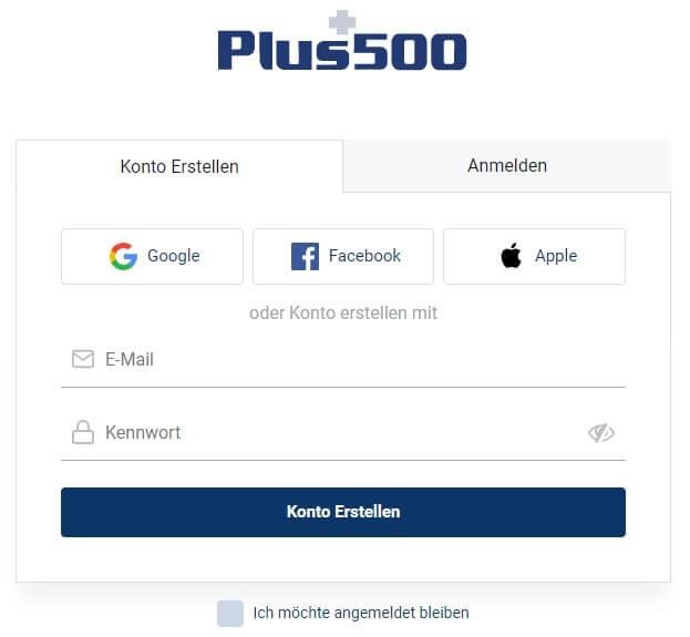 Anmeldeformular Plus500