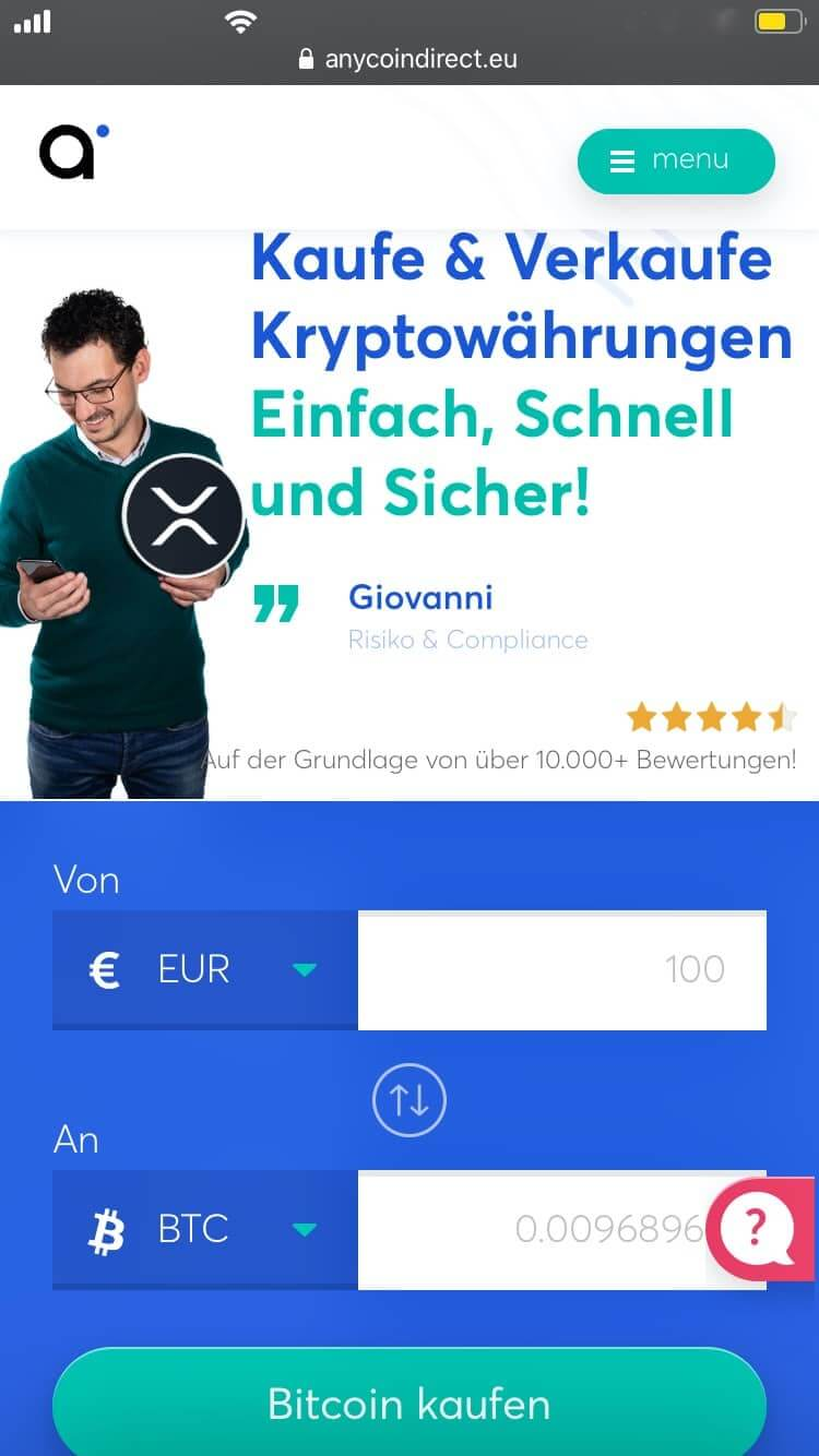 Anycoin Direct app/Browser Anwednung