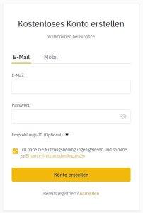Binance Registrierung