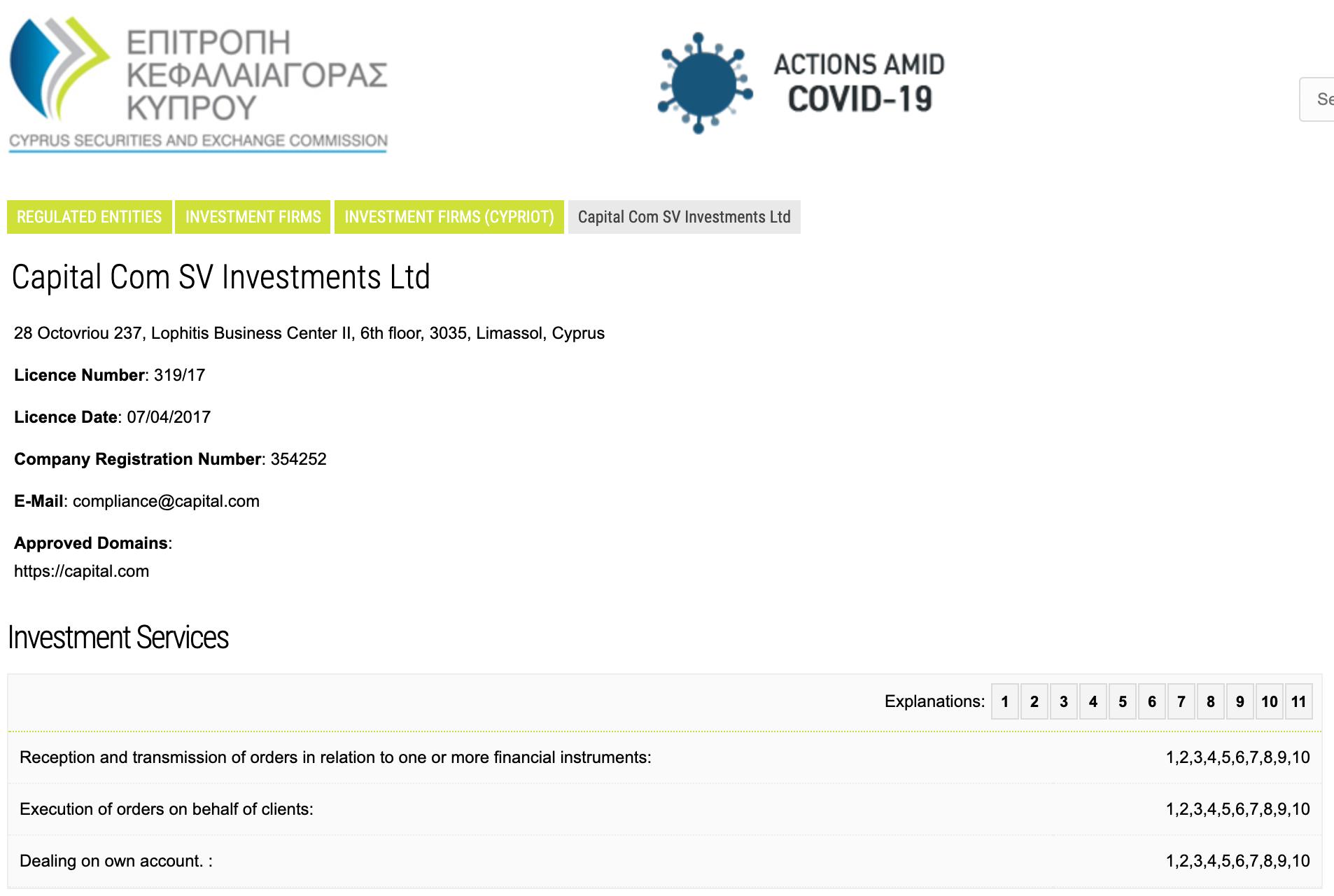 Capital.com Lizenz