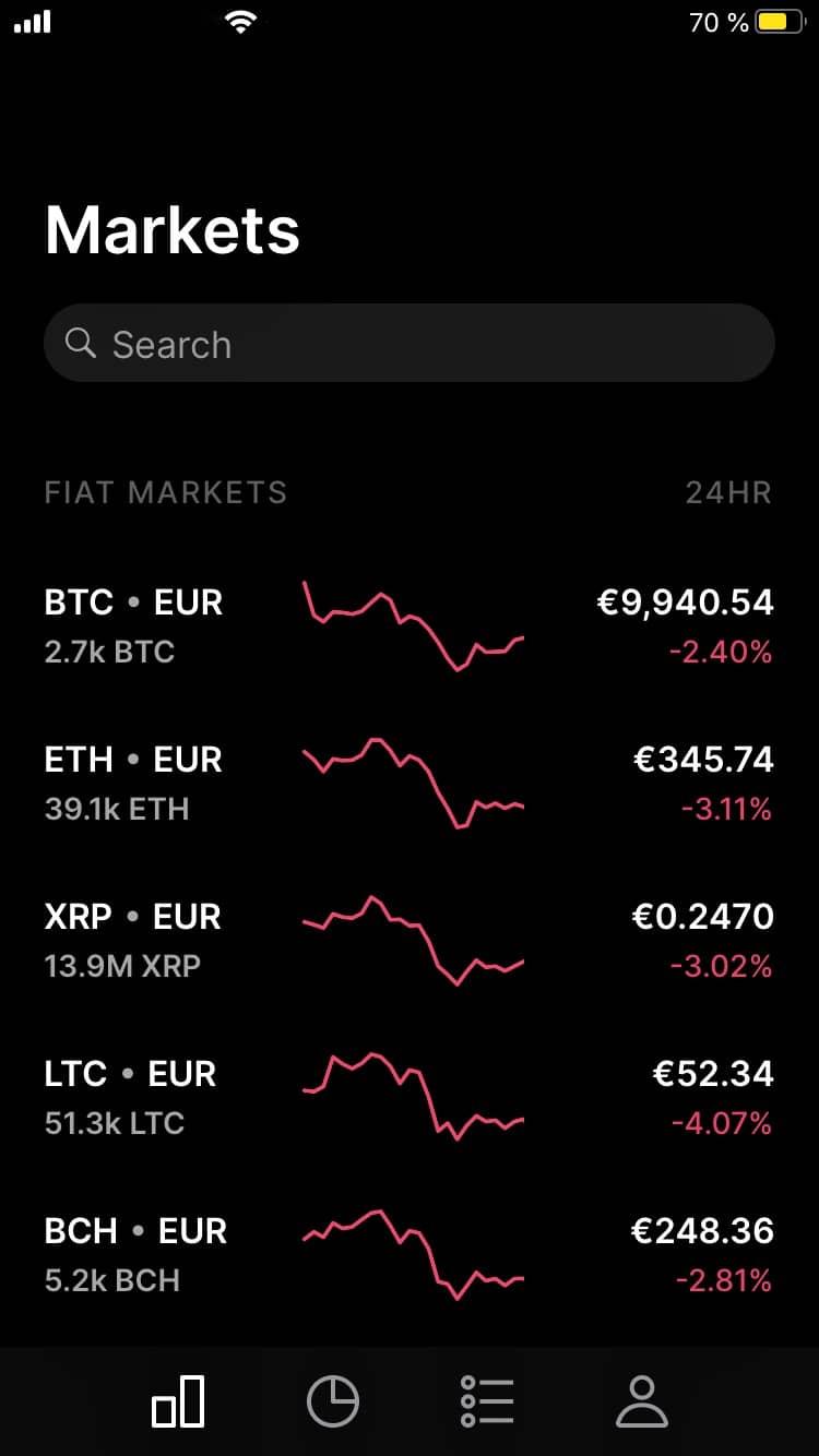 Coinbase Pro App - Market Ansicht