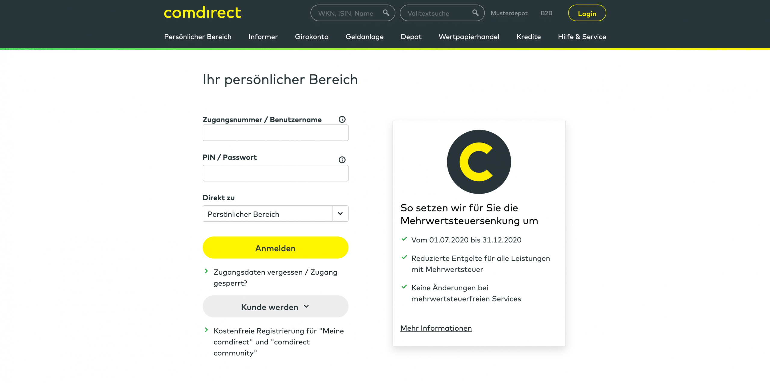 Comdirect Login & Registrierung