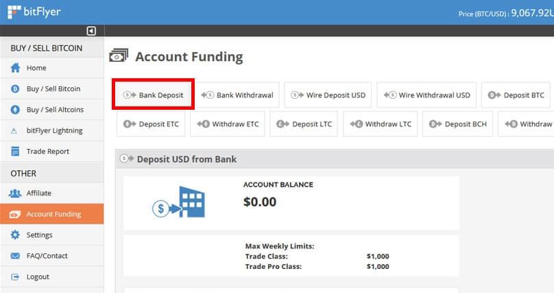Einzahlung bei BitFlyer