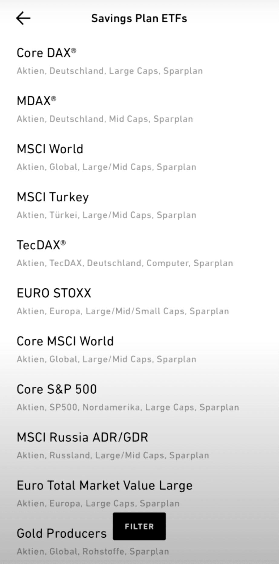TradRepublic ETF Sparplan wählen