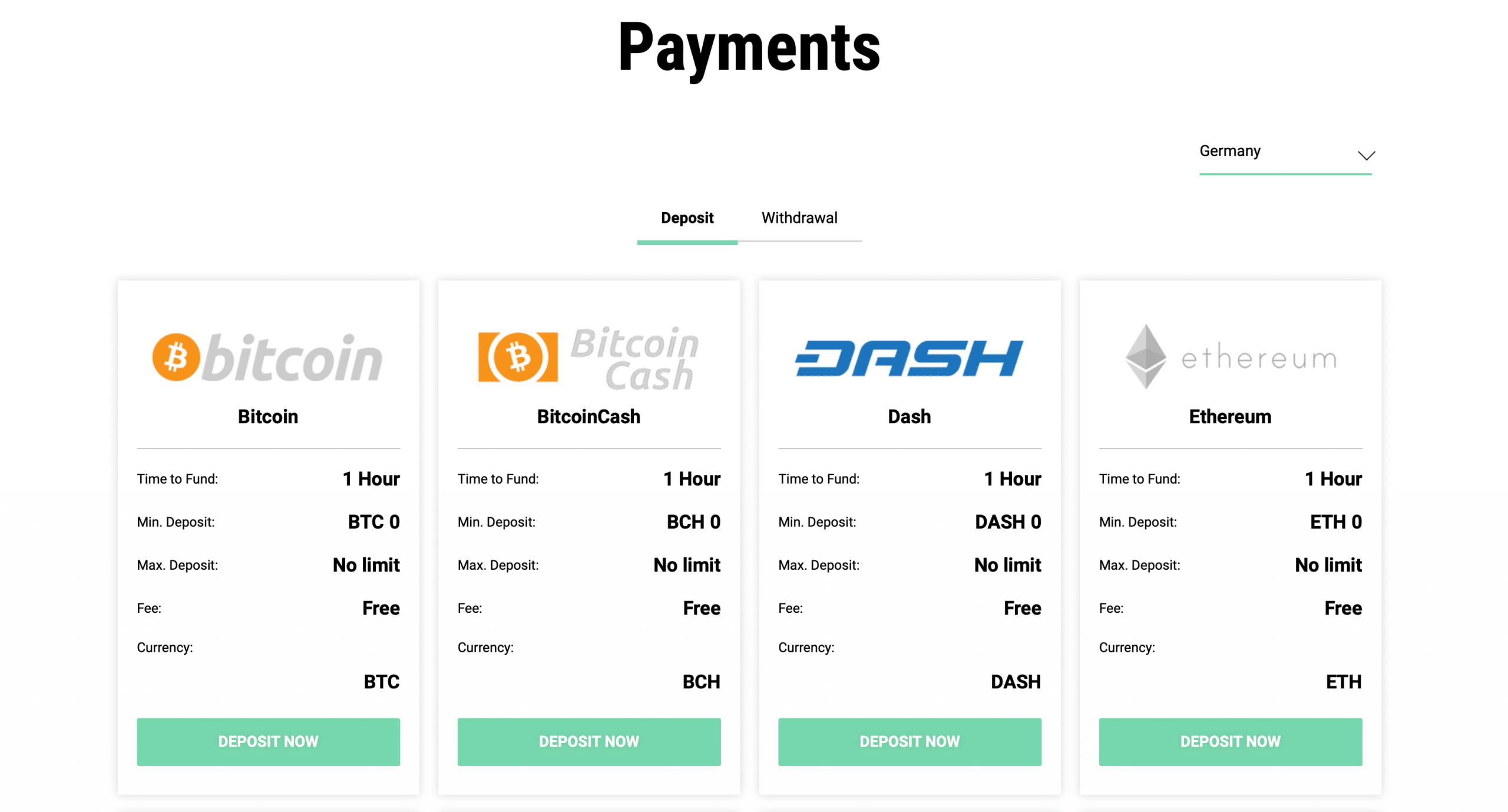 SimpleFX Einzahlungen