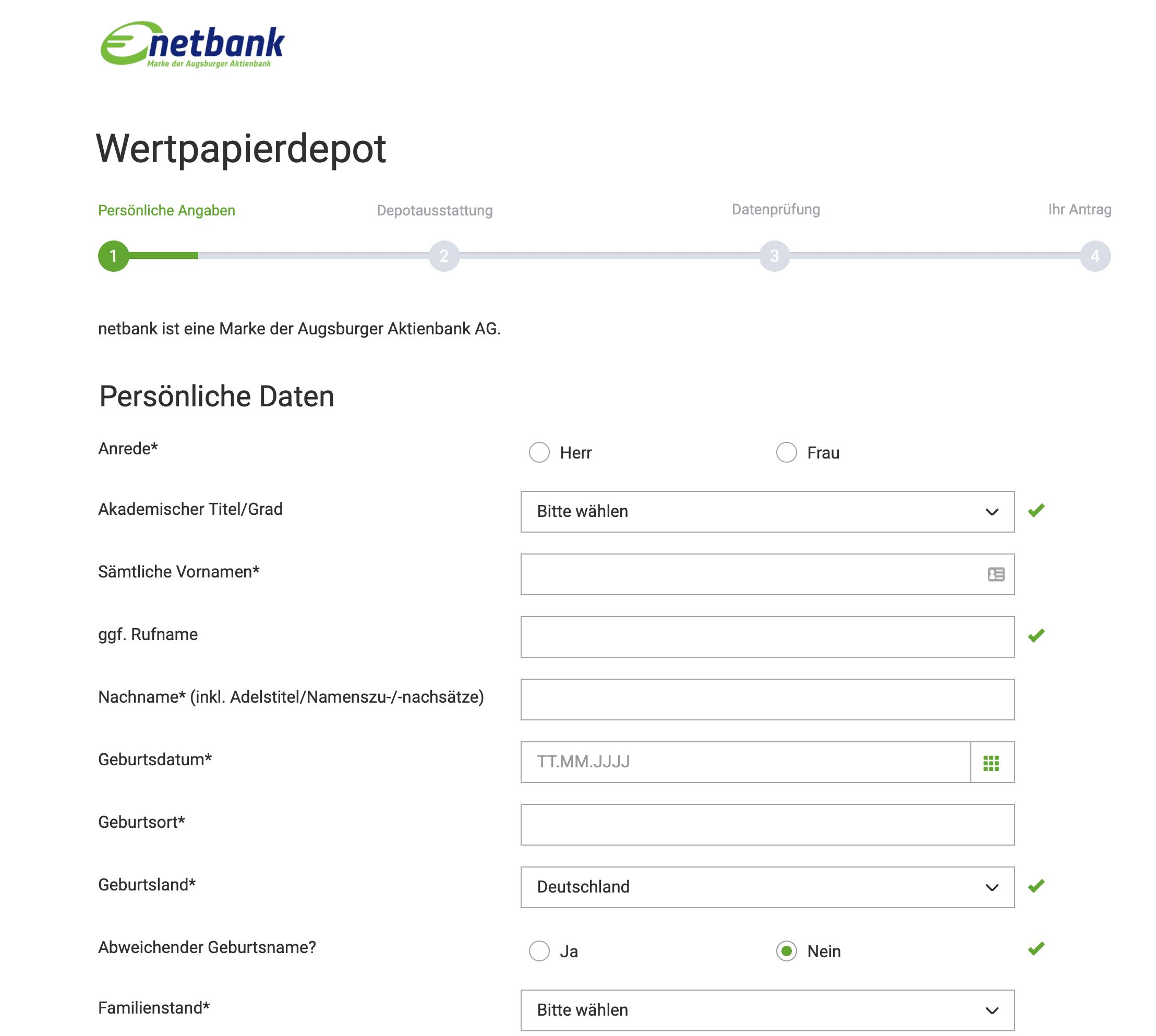 Persönliche Angaben - Netbank
