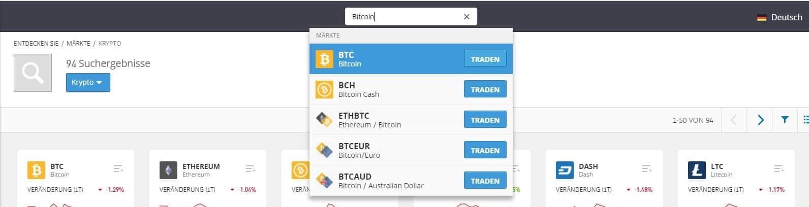 Nach Bitcoin suchen