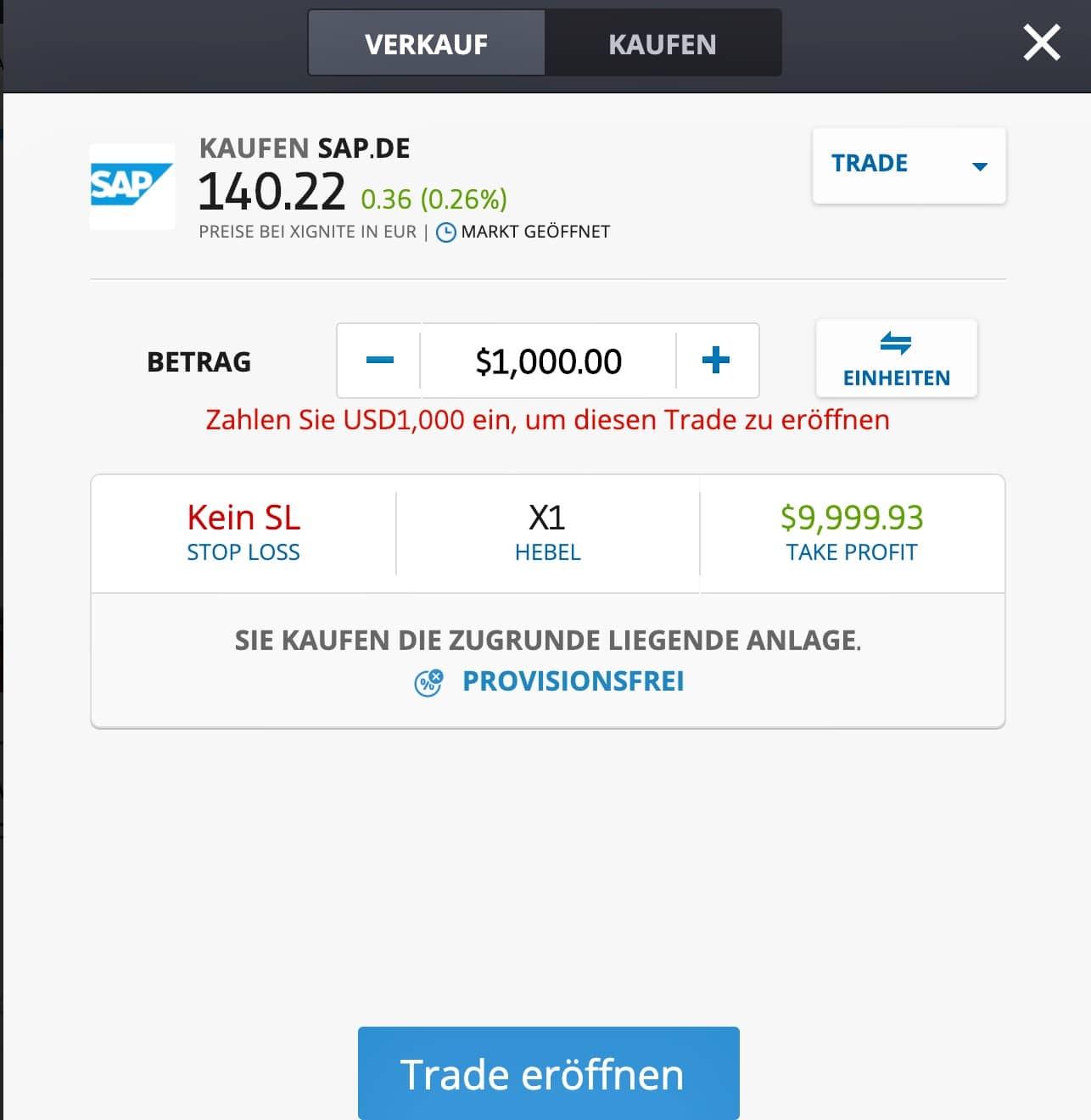 eToro Software Aktien Trading