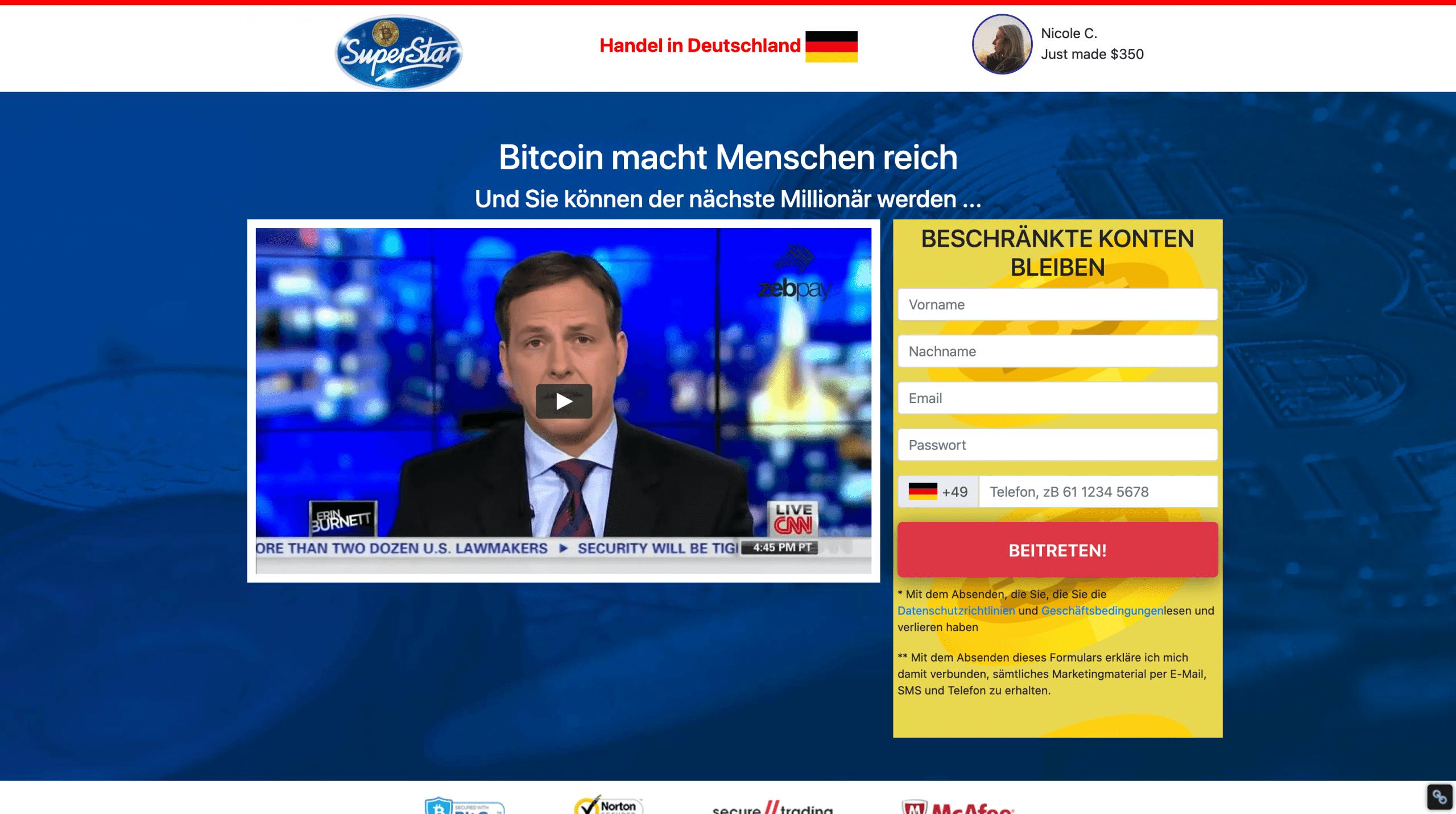 Bitcoin Superstar Anmeldung