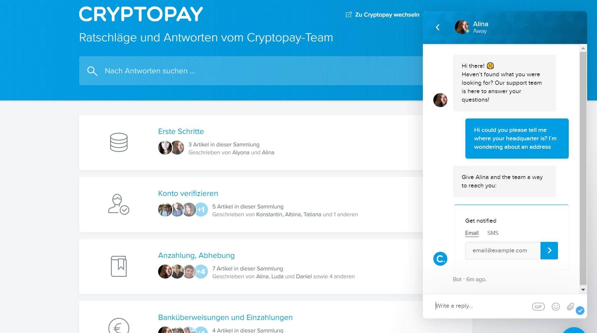 Cryptopay Kundenservice