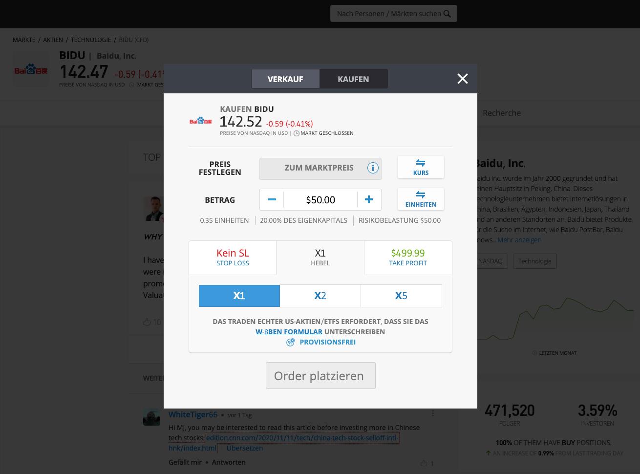 Baidu Aktien kaufen