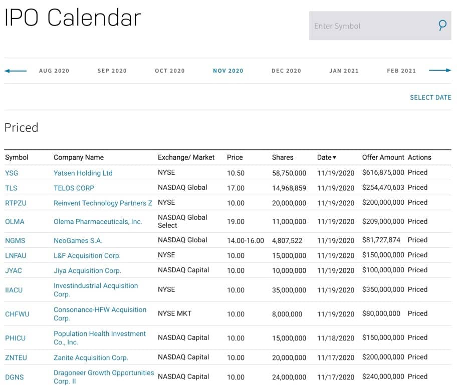 Neue Aktiek kaufen - IPO Calendar