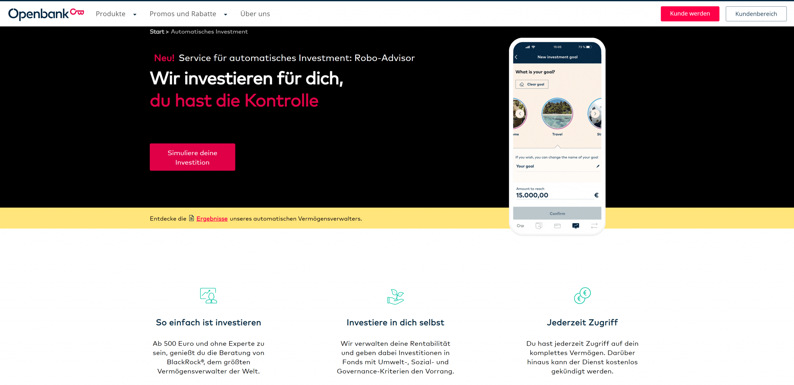 Openbank Robo Advisor Startseite