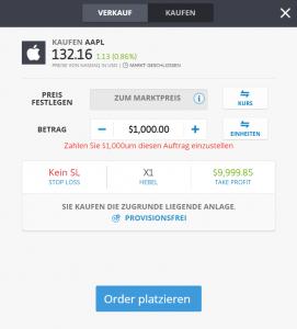 Blue Chip Aktie Apple Order platzieren