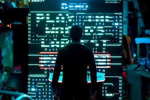 man facing machine turned on