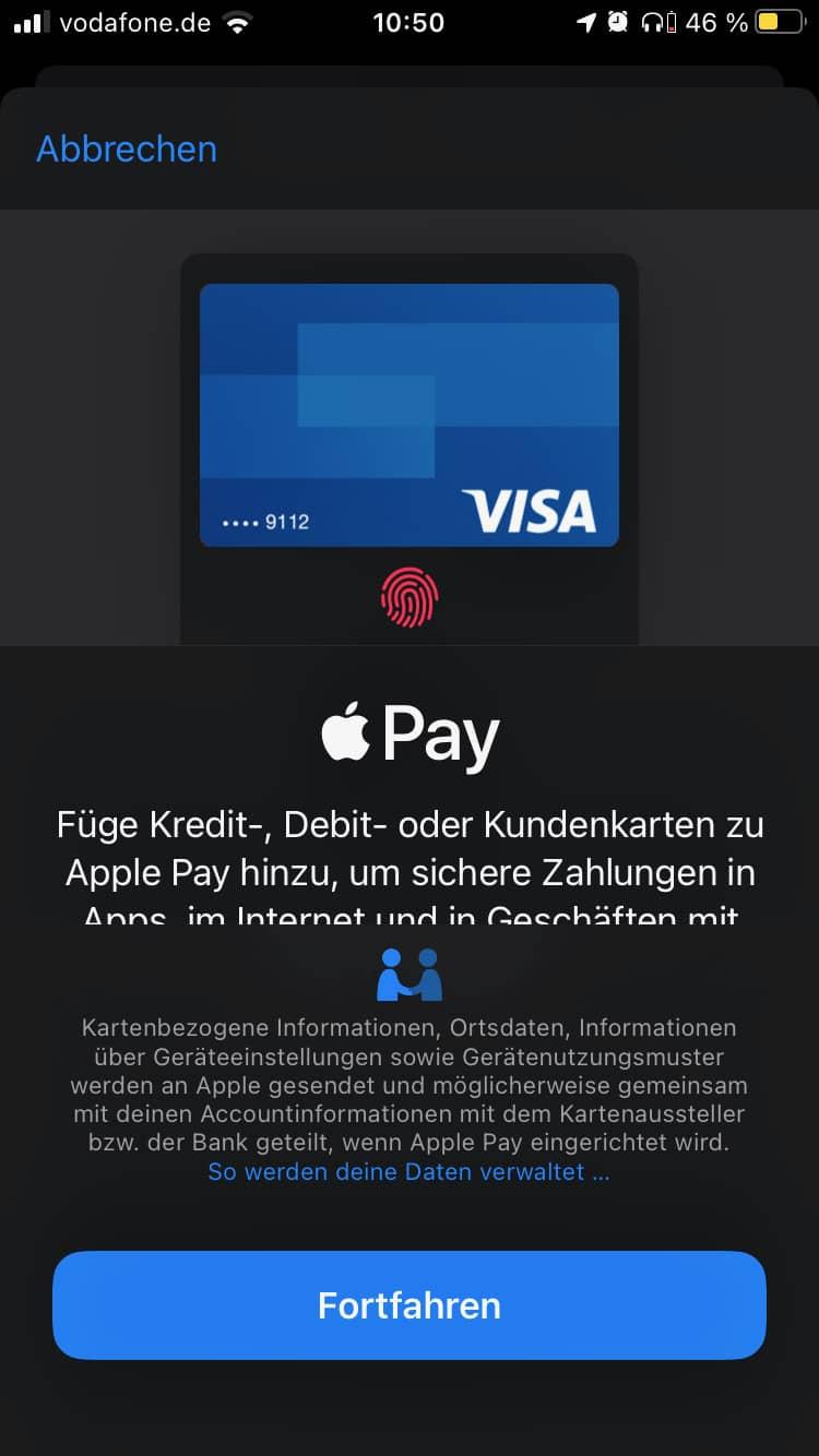 Apple Wallet Karte einrichten
