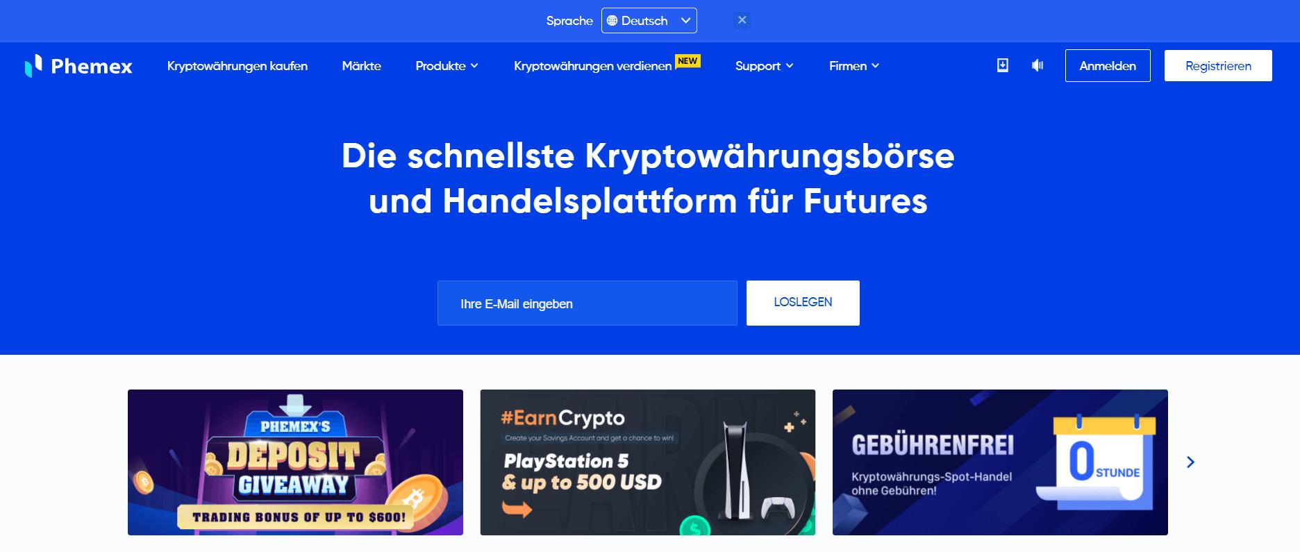 Phemex Webseite