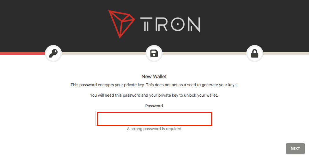 TRON Neues Wallet einrichten
