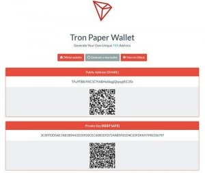 TRX Paper Wallet