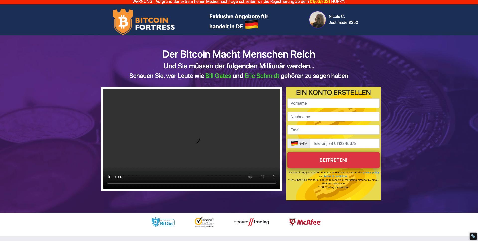 Bitcoin Fortress Registrierung