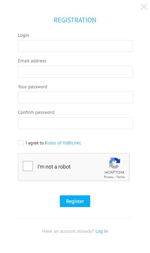 YoBit Registrierung