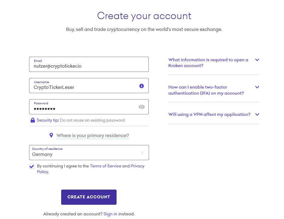 kraken registrierung