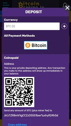 BitcoinCasino.io deposit