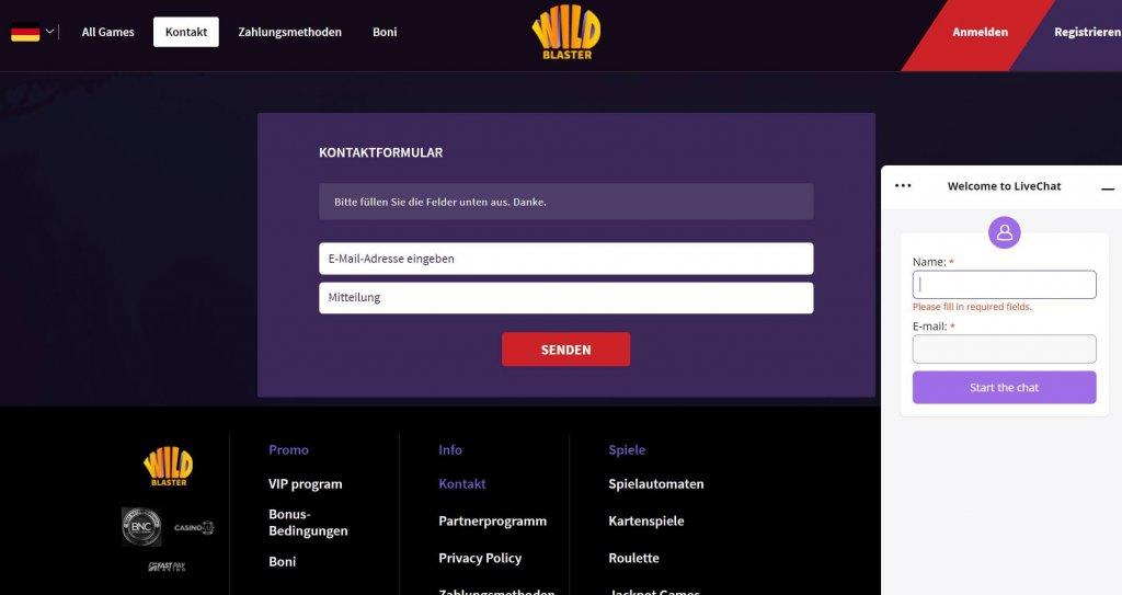 Wildblaster Casino Support