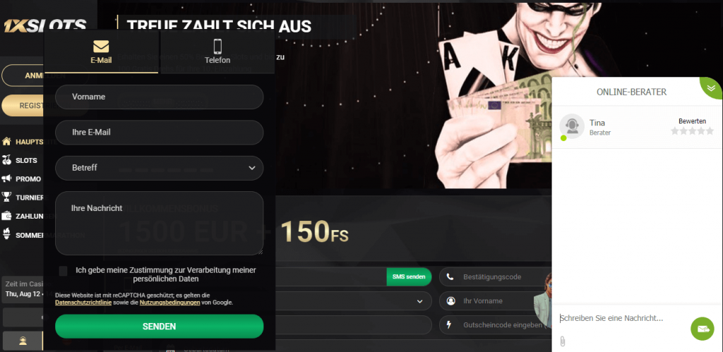 1xSlots Casino Kundendienst