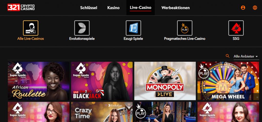 321 Crypto Casino Live Spiele