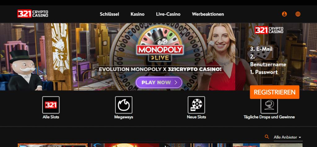 321 Crypto Casino Startbild