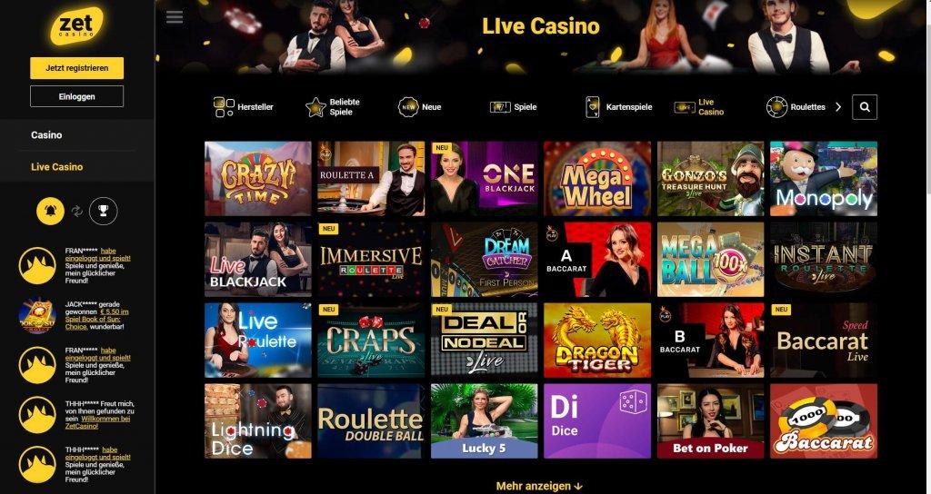 Zet Casino Live Casino