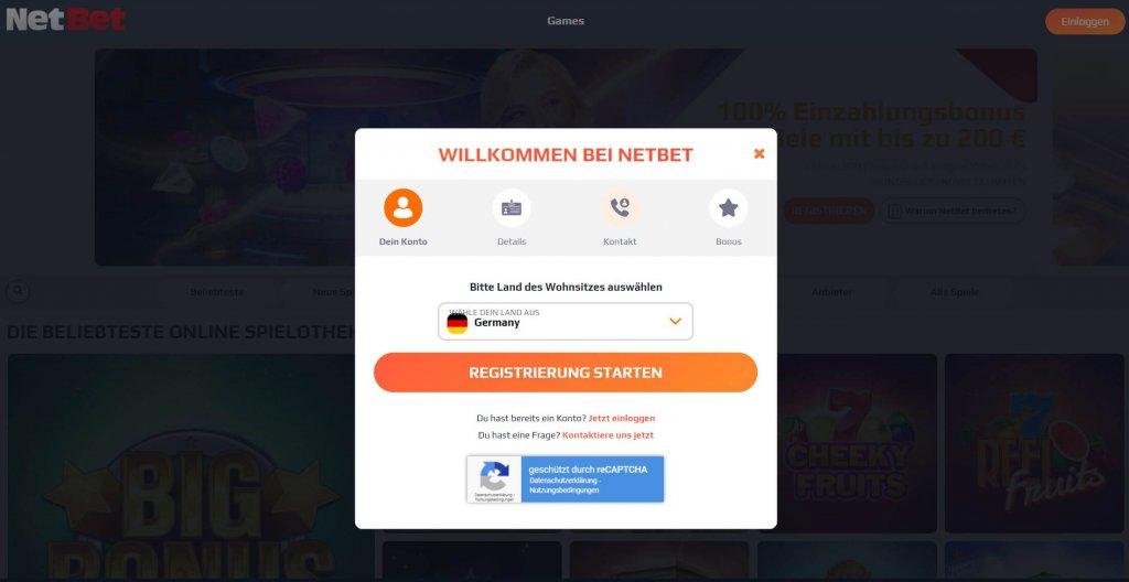 NetBet Casino Registrierung