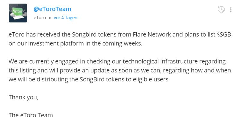 eToro Songbird